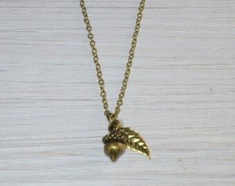 Acorn Necklace, Acorn Jewellery, Acorn & Leaf Charm Necklace,