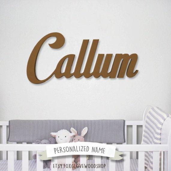 Nursery Decor Cursive Wall Letters Wooden Cutouts Above Crib