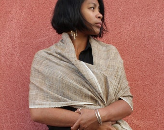 "SCARF silk ""I-AMPY"", color taupe, made from organic wild silk of fair trade, woman scarf, silk, accessories women, fashion"