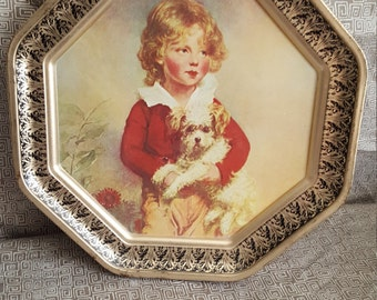 Girl and Dog Vintage Wall Tin