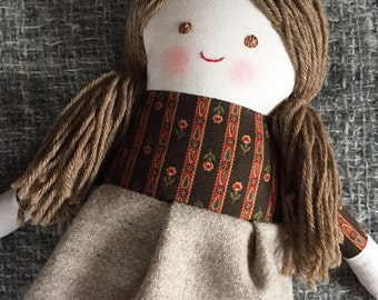 """Emily, a 17"""" doll, handmade with all natural materials. Waldorf inspired dolls for creative play."""