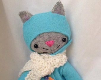 cat stuffed animal, cat softie, cat plush , cat doll