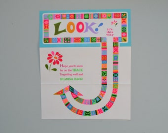 Vintage Get Well Card -unfolds - Large and bright Graphic - 1970