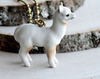Hand Painted Porcelain White Alpaca Necklace, Antique Bronze Chain, Vintage Style Llama, Ceramic Animal Pendant & Chain (CA013)