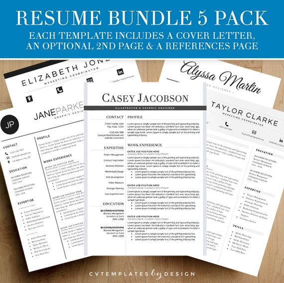 resume template bundle for ms word 5 by cvtemplatesbydesign