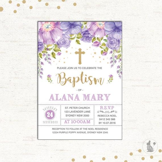 Baptism invitation purple gold christening printable like this item stopboris Image collections
