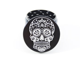 Day of the dead skull herb grinder- 4 piece- free carrying bag- 2.2""