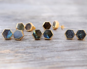 Natural Labradorite Stud Earrings, Hexagon Labradorite Studs, Boho Chic, Gold Plated Bezel Natural Stone Posts, Statement Geometric Gemstone