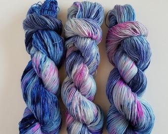 MONKBERRY MOON DELIGHT- Hand Painted Glitter Lace/Light Sock Yarn- Hand Dyed Merino Silk Stellina- 438 yards