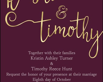Simple black and white / maroon and gold / navy and silver invitations
