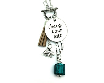 "Change Your Fate Merida Brave Inspired Glass Beaded Tassel Charm 26"" Chain Necklace Silver Tone"