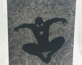 "Spiderman Inspired Cut Paper Silhouette Portrait 8"" x 10"" Cut Out Art Portraits"