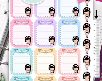 Daily Goals Sticker,Daily Goals Planner Sticker,Fullboxes,Emely Girl,Erin Condren, Happy Planner, Filofax, Kikki K - NR326