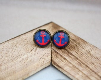 "Cabochon earrings ""anchor blue"" 12 mm"