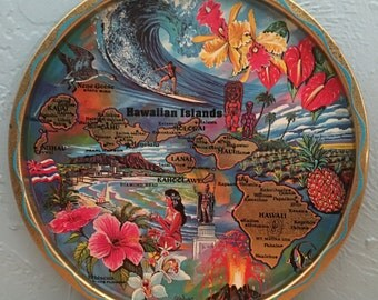 FREE SHIPPING Vintage Hawaii State Souvenir Tray