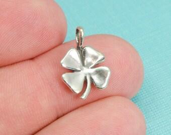 Sterling Silver Four Leaf Clover Bracelet Charm, Luck, St. Patrick's Day, Irish, Pendant, Jewelry, .925 Silver, DIY Bracelet, (C152)