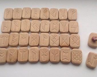Runes futhark Anglo Saxon runes  for witch runes set viking runes norse runes wooden runes witch gift wood runes divination