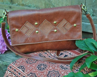 Mahogany leather cross body bag