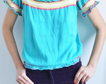 Boho style blue top/ Boho clothing/ Boho chic blouse/ Vintage  knit top/Off-shoulder top