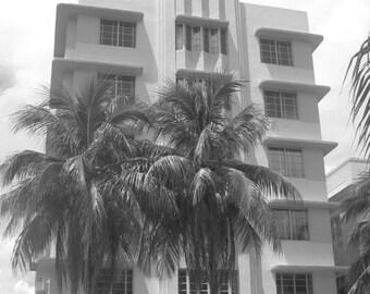 Miami, Art Deco, Black and White, Photograph, Print, Hotel, Building, Florida, Palm Trees, Travel, Art, South Beach