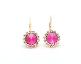 Swarovski Earrings, Fuchsia, Gold or Silver