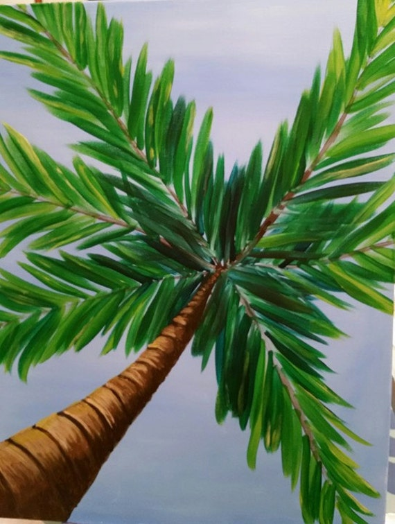 Items similar to sale palm tree perspective in acrylic for Palm tree painting
