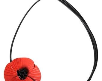 leather poppy flower Choker full-grain
