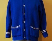 Vintage Blue 100% Wool Curling Sweater