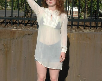 Silk, Lace, Lace front, Long Sleeve, Top, Tunic, Sheer, 90s