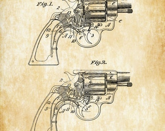 Smith and Wesson Revolver Patent 1894 - Patent Print, Gun Art, Firearm Art, Revolver, Gun Enthusiast, Antique Gun, Gun Lover
