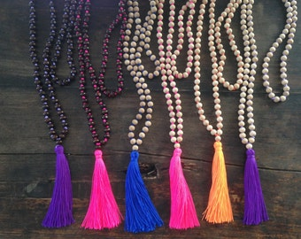 Mala Wood Bead Necklace with Tassel