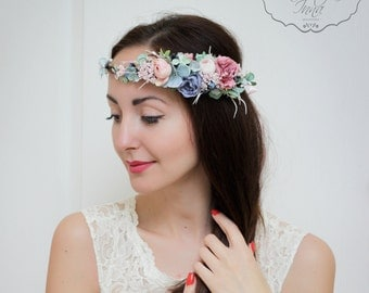 Wedding flower crown Flower halo Flower crown Bridal floral crown Flower headband Bridesmaid flower crown  Floral crown Boho floral crown