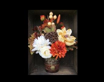 Fall Floral Arrangement  - Rustic Fall Floral Arrangement, Floral Arrangement, Fall Arrangement, Floral Arrangement
