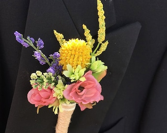 Rustic Silk Wildflower Boutonniere, Wedding Boutonniere, Boutonnieres for Wedding, Groom, Groomsmen Rustic, Buttonhole