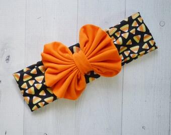 Messy Bow Head wrap, Halloween/Fall infant headband, baby headband, newborn photo prop, toddler headband, Large bow headband