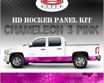"Chameleon Hex 3 Pink Camo Rocker Panel Graphic Decal Wrap Truck SUV - 12"" x 24FT"