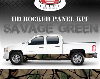 "Savage Green Camo Rocker Panel Graphic Decal Wrap Truck SUV - 12"" x 24FT"