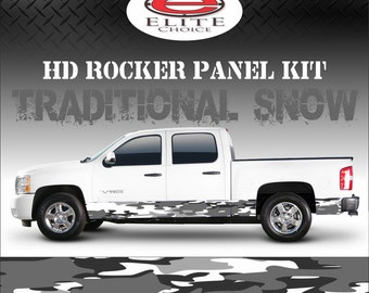 "Traditional Snow Camo Rocker Panel Graphic Decal Wrap Truck SUV - 12"" x 24FT"