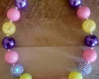 Garden Party Chunky Necklace, Bubblegum Bead Necklace, Chunky Beads, Baby Bubblegum Necklace, Purple Pink Yellow