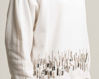 KATE SWEAT, 100% cotton, beads, metallic sequins embroidery.
