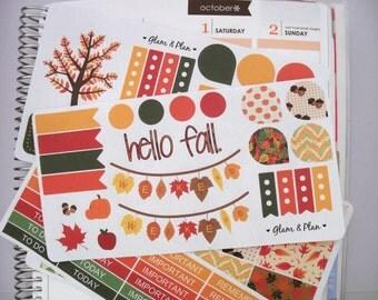 Fall/Autumn Stickers Kit | Erin Condren Filofax Happy Planner