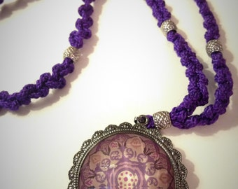 Purple Mandala Adjutsable Macrame Necklace