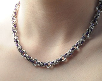 Byzantine Rose Chain Maille Necklace // Chain Maille Jewellery