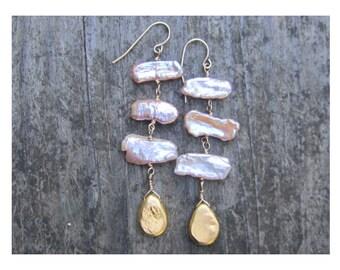 Freshwater pearl drop earrings with 18k vermeil teardrops