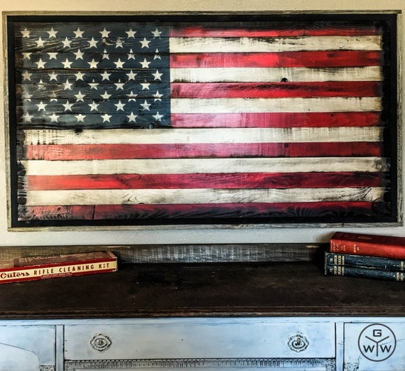 48 american flag wall art wood american by for Painted american flag wall art