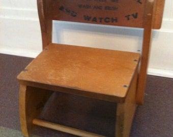 Rare Vintage Child's Step Stool Chair