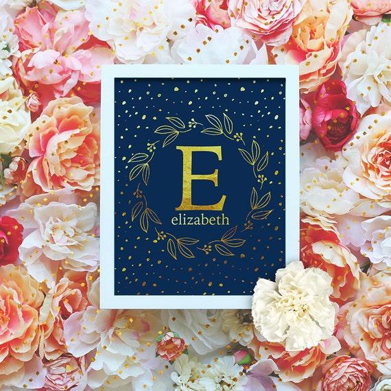 "Custom Monogram Printable - 8x10"" - Customized Name Art Print- Floral Wreath Initial - Gold Monogram - Nursery Monogram- Baby Name Sign"
