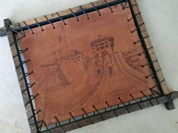 Etched Drawing of Panama Canal on Carved Leather | Esclusas de Gatún 1979 | Framed Pyrography Art | Vintage Panamanian Travel Souvenir