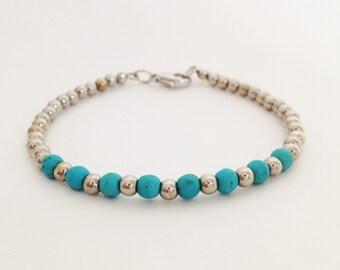 4 mm turquosie bead bracelet with silver brass bead simple bracelet beaded bracelet turquoise stone bracelet friendship