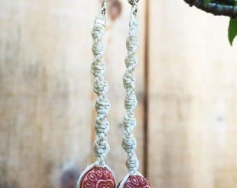 Hemp Earrings Spiral Knot Hand Knotted